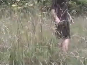 Mature lady gets nasty creampie in the forest
