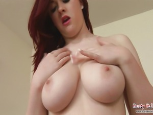 Sexy babe Jaye Rose plays with her big boobs then gets a dildo out to pound...