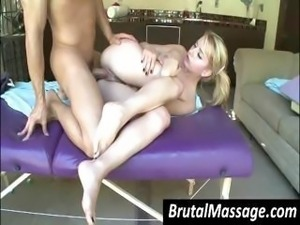 Young blonde hottie in pigtails sucks the masseur and gets banged