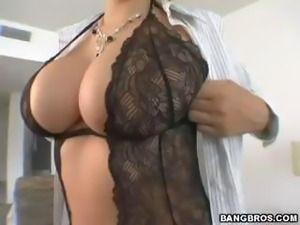 Really busty brunette eats his cock and then rides on his cock