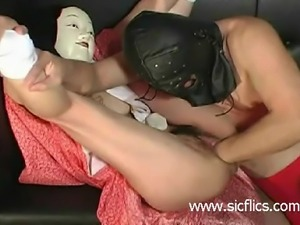 Extreme slut loves her loose pussy fisted and fucked with huge dildos till...