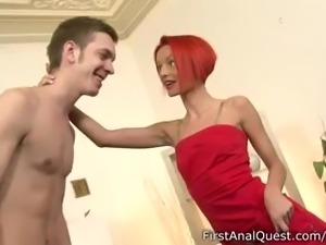 Hot teen with red hair gets her ass stretched in anal action