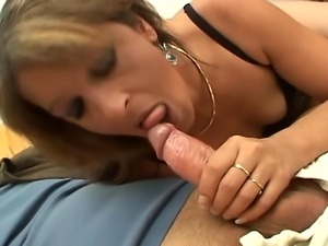 Desperate and cock hungry, greedy brunette MILF has the time of her life with...