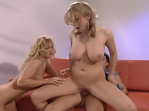 These two horny blonde bitches will share a hard cock as long as they will...