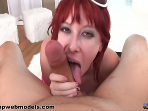 amazing hot young babe gives a great blowjob she is so young but already...
