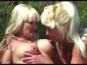 two blond mature lesbians