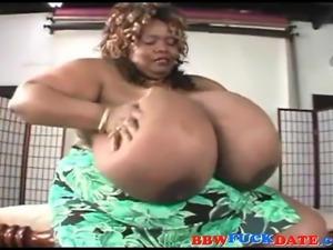 Ebony bouncing those massive mega boobs