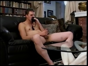 Dominatrix fucks white guy with strap-on while sucking black dick