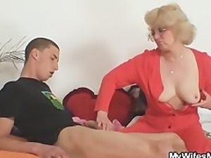 Mother in law fucks him and his wife comes in