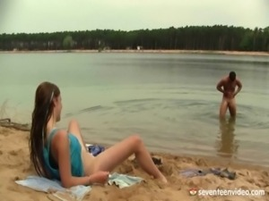 Anouk has a lot of fun on the beach free