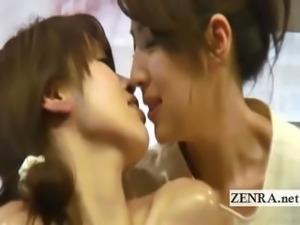 Subtitled Japanese lesbian deep kissing oil massage