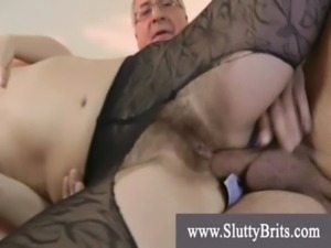 Teen in stockings banged with grandpa cock free