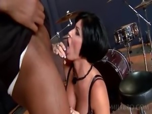 Mom giving blowjob to black dong