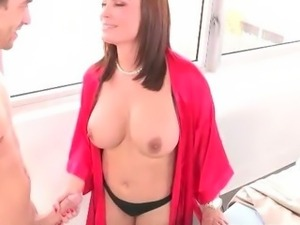 Stepmom seduces son and his girlfriend too while her husband is away