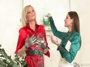 Messy blonde lesbo shows hot nipples