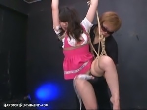 Japanese teen strung up and tortured with vibrators
