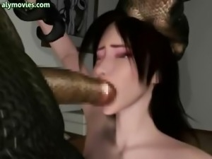 Animated fucked by a big alien cock