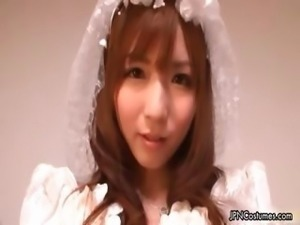 Sexy Japanese cosplay bride showing her part3