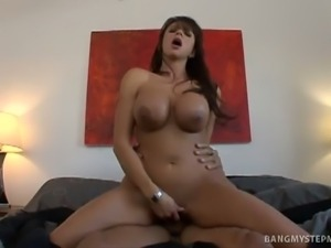 Brunette stepmom bangs stepson