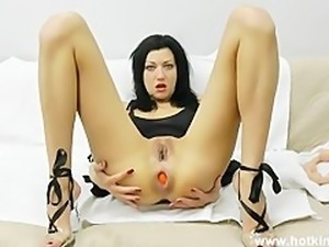 Amazing anal from HotKinkyJo 25ich of dildo