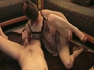 Fucking his skinny wife on camera