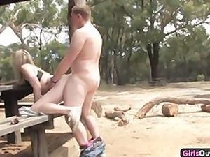 Dirty Australian blonde tourist fucked in the bush