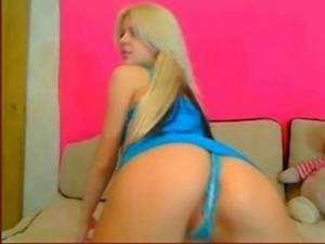 Russian blond teen striptease free