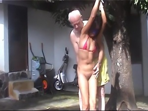 this little b.f.m slave is warmed up in its ass and pussy before it will be...