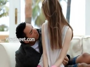 gentle euro girl fucking with black