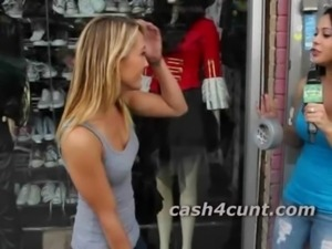 Skinny hot blonde cash to get naked in public and show off her pussy free