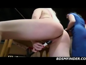 Blonde with big tits spanked and dominated by her lesbian mistress