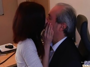 Young naughty assistant fucking her Old boss