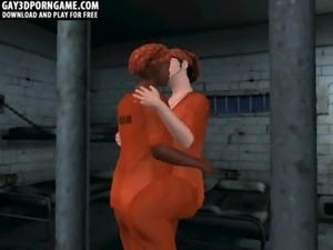 Horny 3D cartoon prisoners sucking each others free