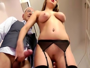 A sexy young British slut is being drilled by old sir's cock