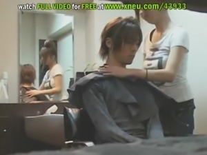 Asian Hairdresser With Big Tits Jerks Off A Guy Until Making Him Cum free