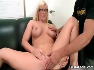 Horny big tits blonde gets finger fucked
