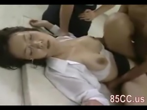 Mosaic: Glasses teacher gangbang fucked by students