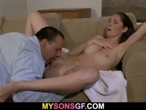 Teen sucks father-in-law's cock