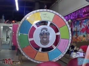 the wheel stops at.... blowjob! plus, zoe squirts!