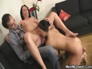 She gets threesome fucked by his family