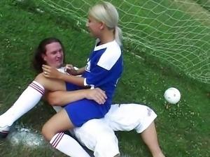 Blonde Girl like Football