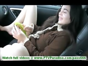 Nadine amateur cute brunette teen girl with perky tits is in the car toying...