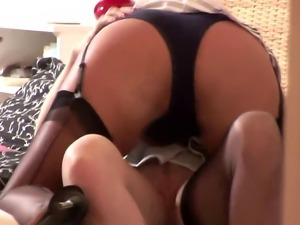 Lesbian in stockings getting hot with her new play mate