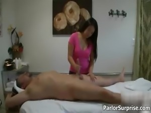 Horny Asian massage girl gives a hand part3