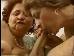 2 Grandmas Enjoy a Hunk and his cock. free