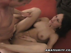 A busty amateur housewife homemade hardcore action with blowjob, handjob,...