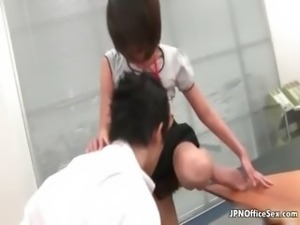 Cute Japanese office girls love having