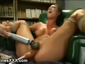 Tied up babe pussy fucked by machine until gets orgasm