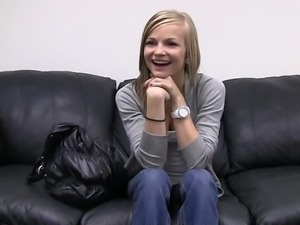 Skinny teen Riley posing for casting