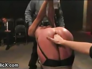 Bound babe on her knees ass fingered in public